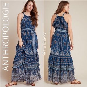 NWT ANTHROPOLOGIE BLUE RUFFLED PULLOVER MAXI DRESS
